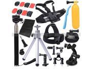 """E-buy World"" 28 in 1 Head Chest Mount Floating Monopod Pole Accessories For Go Pro Hero 2 3 4 Camera 28 piece"