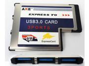 54mm Express Card ExpressCard to 3 Port USB 3.0 Hidden Inside Adapter for Laptop