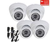 VideoSecu 4 Pack IR Day Night Vision Weatherproof Outdoor Vandal Proof Security Camera Built in 1 3 Sony Effio CCD 700TVL 3.6mm Wide View Angle for DVR Surveil