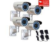 VideoSecu 4 Pack IR Night Vision Security Camera Indoor Outdoor Weatherproof 1 3 inch Pixim DPS 690TVL High Resolution 48 LEDs 4 9mm Varifocal Lens OSD with 4 P