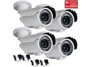 VideoSecu 4 Pack Outdoor Weatherproof Indoor Security Camera Built in 1 3 inch Sony CCD Effio IR Day Night Vision 700TVL 42 LEDs 4 9mm Varifocal with 4 Power