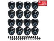 VideoSecu 16 Pack Weatherproof Outdoor 480TVL 3.6mm Wide Angle View Security Camera Infrared Day Night Vision Build-in 1/3'' CCD with 16 Power Supply for CCTV Surveillance DVR System B4Y