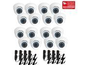 VideoSecu 16 Pack Weatherproof Outdoor CCTV Surveillance Infrared Day Night Vision 3.6mm Wide Angle Lens Security Cameras Vandal proof Build in 1 3 inch CCD 480