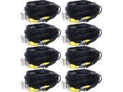 VideoSecu 8 Pack 150ft BNC CCTV Video Power Cables CCD Home Security Camera DVR Wires Cords with bonus Adaptors b6p