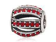 Babao Jewelry Sparkling Hollow Red Czech Crystal Soild Authentic 925 Sterling Silver Bead Fits Pandora Style European Charm Bracelets