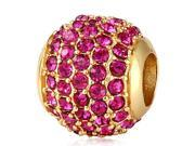 Babao Jewelry Huge Round Fuchsia Czech Crystal Soild Authentic 18K Gold Plated With 925 Sterling Silver Bead Fits Pandora Style European Charm Bracelet
