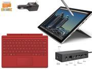 "Microsoft Surface Pro 4 Core i5-6300U 16GB 256GB 12.3"" touch screen w/ 2736x1824 3K 3:2 QHD Windows 10 Pro (Red Cover, Dock Bundle)"