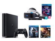 PlayStation VR Bundle 3 Items:VR Bundle,PlayStation 4 Slim 500GB Console - Uncharted 4,VR Game Disc PSVR EV-Valkyrie Type: Head-mounted Display Camera: PlayStation 4 Camera Audio: Stereo headphones Connection: Micro USB Dimensions: 10.4 x 8.2 x 18 inches Weight: 20 pounds Package Contents: VR headset, Processor unit, VR headset connection cable, HDMI cable, USB cable, Stereo headphones, AC power cord, AC adaptor, PlayStation VR Demo Disc, PlayStation Camera, 2 PlayStation Move motion controllers, and Rush of Blood VR game disc Feature: Greatness Awaits with PlayStation VR