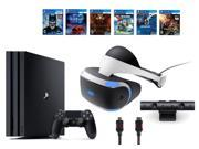 PlayStation VR Bundle 9 Items VR Headset Playstation Camera PS4 Pro 1TB 6 VR Game Disc Until Dawn Rush of Blood EVE Valkyrie Battlezone Batman Arkham VR Dr