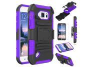 Heavy Duty Defender Holster Shell Belt Clip Hard Case Cover w/ Kick-Stand for Samsung Galaxy S6 Active (G890)  [Purple]