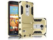 Hybrid Rubber Hard Slim Case Cover with Kick-Stand for LG C40 [Gold]