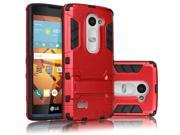 Hybrid Rubber Hard Slim Case Cover with Kick-Stand for LG C40 [Red]