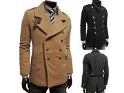 Men double breasted woolen trench coat high quality slim outerwear low price