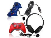 Stylish Wireless Controller + Wired Controller + Headset Headphone for Xbox 360