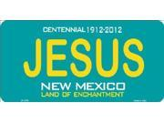 JESUS New Mexico (Teal) State Background Aluminum License Plate - SB-LP2784