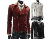 Winter new personalized leather jacket  European style men's leather motorcycle coat Black M 9SIA76F2JT5534
