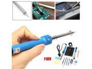 14 in1 Electric Soldering Iron Starter Tool Kit Set Desolder Pump 110V 60W