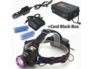 New 2200Lm XML T6 LED Zoomable HeadLamp Light Torch 2x18650 2*Charger Box