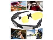 Universal Wireless Sunglasses Bluetooth HiFi Stereo Music Hands free Headset Headphone For iPhone iPad iPod Samsung HTC Sony Smart Phone PC Tablet +  Yellow Lenses