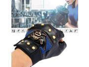 1 Pair Man Skull Fashion Leather Cycling Bike Gloves, Half Finger Motorcycle Fingerless 9SIAASP40K9712