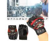 1 Pair Man Skull Fashion Leather Cycling Bike Gloves, Half Finger Motorcycle Fingerless 9SIA76H37D8814