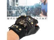 1 Pair Man Skull Fashion Cool Leather Cycling Bike Bicycle Gloves Half Finger Motorcycle Fingerless