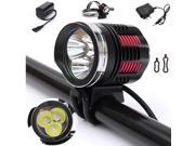 4000Lm 3X CREE XM-L2 LED Front Bicycle Head Lamp Bike Light Headlamp Headlight 4 Modes Waterproof + 5 LED Bike Rear Light 9SIV0E240A9344