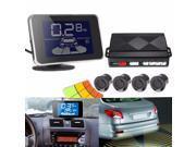 LED Display Wireless Car Auto Parking Reversing Buzzer Alarm Kit 4 Radar Sensor