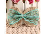 10x Hessian Jute Embellishments Shabby Chic Rustic DIY Wedding Decoration Craft Handmade Lace Bows - Green