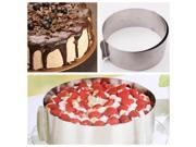"New 6-12"" Adjustable Round Stainless Steel Mousse Cake Ring Baking Mold 2 Handle Layered"