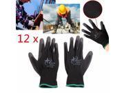 12 Pairs Nylon PU Anti-stat Safety Work Gloves Builders Grip Palm Coating Glove
