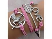 Handmade Multi Layer Infinity Cross Leather Rope Bracelet Tq B22