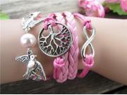 Multi Layer Handmade Infinity Cross Leather Rope Bracelet Tq B58
