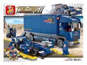 Sluban building blocks Formula blu ray racing truck model DIY children's educational toy assembling toy compatible with 9SIA76Z62G8253
