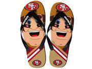 San Francisco 49Ers NFL 8-16 Youth Mascot Flip Flops Medium (1-2)