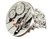 Image of Steampunk Watch Gears Silver Costume Ring Adult One Size