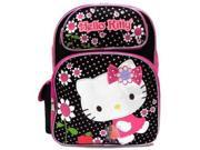Medium Backpack Hello Kitty Flowers Black Pink 14 New 053122