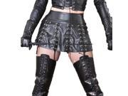 KMFEIL Faux Leather Black Laces Erotic Sexy Skirt