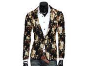 KMFEIL Men Flower Pant Elegant Korean Long Sleeve Casual Jacket