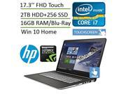 HP ENVY - 17t Touch Laptop (i7 Quad Core Processor + NVIDIA GeForce GTX 950M, 16GB Memory, 2TB HD+256GB SSD, 17.3 FHD (1920x1080) Touchscreen, Blu-ray, 3D Camer 9SIA7AB49E2032