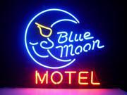 Fashion Neon Sign BLUE MOON MOTEL HOTEL Handcrafted Real Glass Lamp Neon Light Neon Sign Beerbar Sign Neon Beer Sign 19x15 9SIA7AE2NA9922