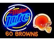Fashion Neon Sign Miller Lite Cleveland Browns Handcrafted Real Glass Lamp Neon Light Neon Sign Beerbar Sign Neon Beer Sign 24x20 9SIA7AE2SD3459