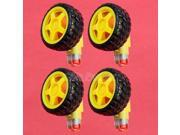 4pcs Smart Car Robot Plastic Tire Wheel + DC Gear Motor 3v 5v 6v