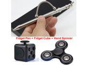 Fidget Cube + Think Ink Fidget Pen+ Hand Spinner Anxiety Stress Relief Focus Toy