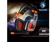 SADES A8 7.1 Surround Sound Stereo Gaming Headset Over the Ear PC USB Gaming Headphones with Microphone Vibration Noise Canceling LED Light (White) 9SIA7BP5YP4349