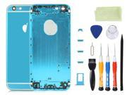 Alloy Metal Back Cover Battery Housing Middle Frame Bezel Replacement with LOGO&Buttons Kit for iPhone 6 4.7 inch With Tool Kit - Light Blue