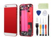 Preassembled Metal Back Cover Housing Battery Door Assembly Middle Frame Bezel Full Assembled with Small Parts Installed Free Tools For iphone 5s (Red/White Glass)