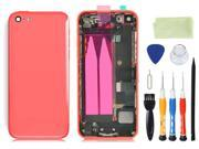 Pre-assembled Plastic Back Cover Housing Assembly Battery Door Middle Frame Full Bezel Assembled with Small Parts LOGO&Buttons + Opening Tools for iPhone 5C (Pink)