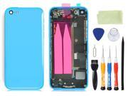 Pre-assembled Plastic Back Cover Housing Assembly Battery Door Middle Frame Full Bezel Assembled with Small Parts LOGO&Buttons + Opening Tools for iPhone 5C (Blue)