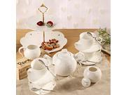 Porcelain Tea Cup and Saucer Coffee Cup Set with Saucer, Spoon, Sugar, Creamer 17 PC TC-HYHD-W 9SIA7DJ60U0289